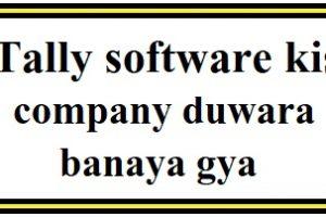 Tally software kis company duwara banaya gya